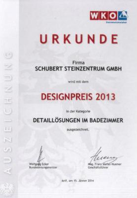 Urkunde Schubert Stone Naturstein Design Luxux Bad